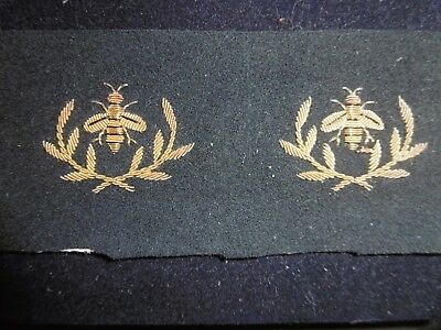 Pair of unused Antique French bee appliques. Hand stitched gold thread.