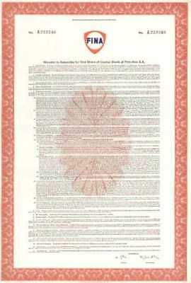7 x FINA (Oil company) subscription warrant, with logo vignette,