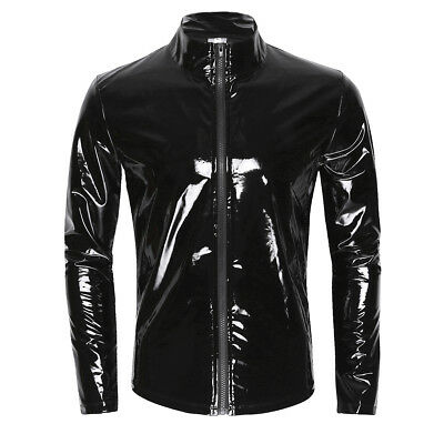 Sexy Herren Metallic Langarmshirt Lackleder Nightclub T-Shirt Tops Coat Kostüm