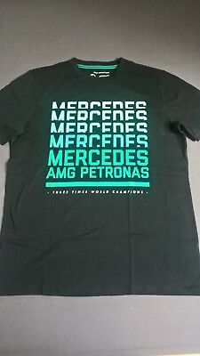 Mercedes AMG Petronas Graphic T-Shirt - Black Schwarz Gr. M - Formel 1 TEAM 2018