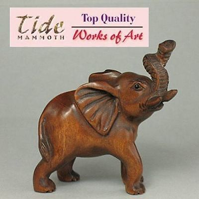 "1940's Japanese handmade Boxwood Wood Netsuke ""ELEPHANT"" Figurine Carving"