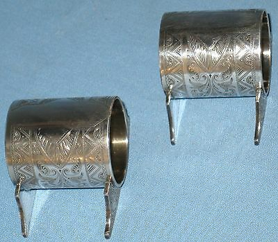 Antique Collectible Sp Novelty Napkin Rings Holders Etched Pair On Carriers