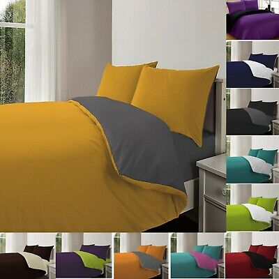 4Pc REVERSIBLE DUVET COVER & FITTED SHEET BED SET WITH PILLOWCASE ALL SIZE