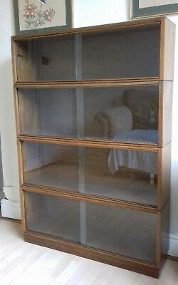 Vintage Simplex 4 Sectional Display Cabinet Bookcase Library Book Shelves