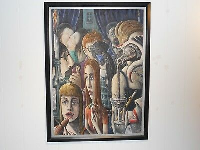 Vintage Surrealist Oil on Canvas Painting,Large-Signed and Dated 1967