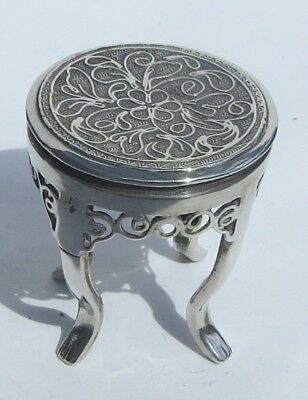 FINE ANTIQUE CHINESE EXPORT SILVER MINIATURE FILIGREE TABLE by WING FAT  c.1900