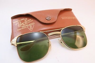 Vintage 50s gold filled B&L Ray Ban SIGNET sunglasses w/case USA 1/10 12K GF Exc