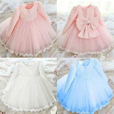 Lively Kids Baby Girl Long Sleeve Lace Flower Wedding Party Princess Tutu Dress