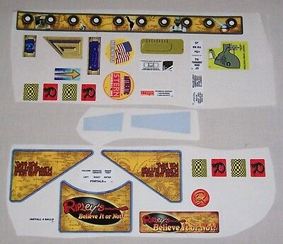 Stern Ripley's Believe It Or Not Pinball Machine Playfield Decal Set NOS!