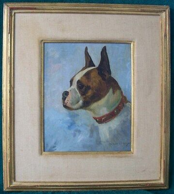STEWART ROBERTSON (1887-1967) 1930's CALIFORNIA BOXER DOG ANIMAL OIL PAINTING NR