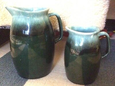 2 VINTAGE McCOY USA GLAZED ART POTTERY PITCHERS GREEN DRIP OVEN PROOF