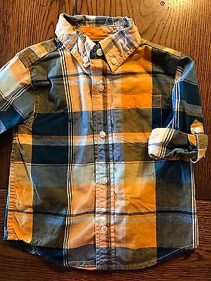 *GYMBOREE* Boys Gone Surfin' Plaid Long Sleeve Button Down Shirt 18-24 Months