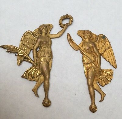 Antique Ormolu Brass Fittings,Decorations,Ornaments.C19th Pair Angels