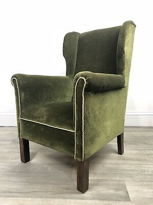 Fantastic Small Antique Wingback Chair, Armchair - Reupholstery Project JY69
