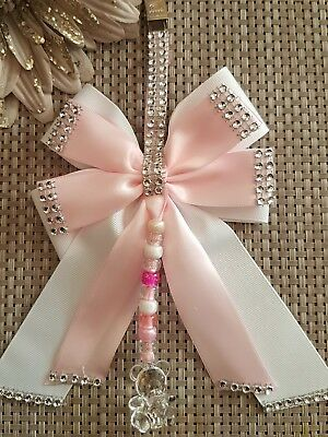 Pram charm girl romany bling pink clip teddy and beads