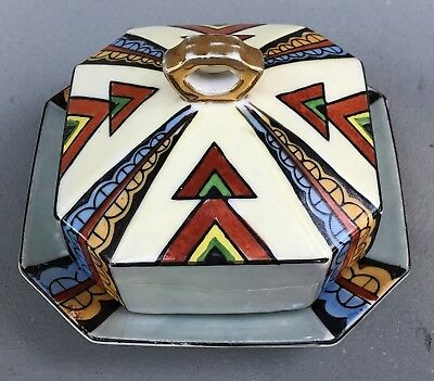 Vintage Japan Lusterware Art Deco Square Butter Cheese Covered Dish Hand Painted