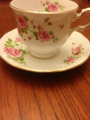 Avon Bone China Pink Roses England 1974 T Cup & Saucer Very Pretty