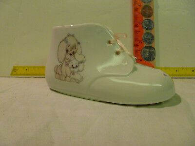 1990 Enesco Precious Moments  Baby Shoe Bank With Pink Laces
