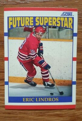 1990/91 Score Hockey Card #440 Future Superstar Eric Lindros Rookie Card EX