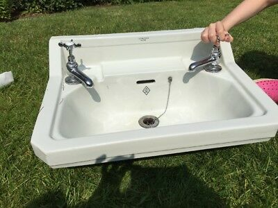 Vitreous Edwardian Sink With Taps And Wall Brackets