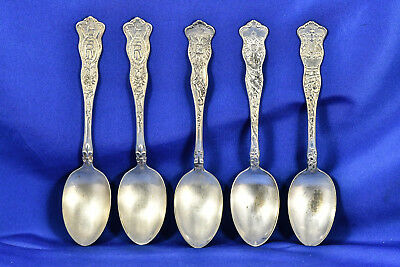 American Silver Co. 5 WWI Silver-Plate Spoons: France Russia Great Britain More