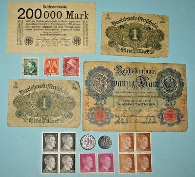 GERMAN REICH WWII COINS & STAMPS! GERMANY BANKNOTES! (92r)