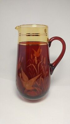Bohemian Czech Crystal Amber Cut To Clear Pitcher Jug With Bird / Goose / Wheat