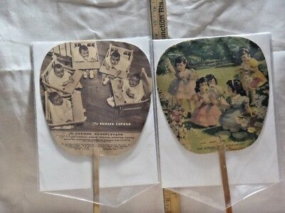 "2 Vintage 1937 Paper Advertising Fans Featuring ""The Dionne Quintuplets"" (Q 01)"