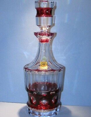 CAESAR CRYSTAL Red Decanter Hand Cut to Clear Overlay Czech Bohemian Cased Blown