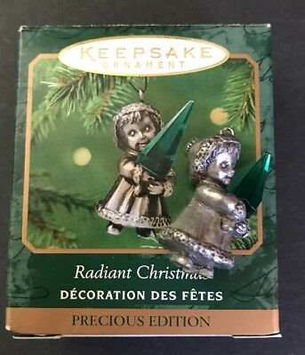 Hallmark Miniature ~ Radiant Christmas ~ 2001 Ornament Pewter Girl & Crystal
