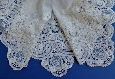 A Victorian Lawn & Brussels Princess Lace Scarf Or Baby Presentation Square