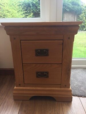 Oak Furniture Land Rustic Solid Oak French Farmhouse Bedside Table