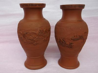 716 / Beautiful Pair Of Early 20Th Century Chinese Terracotta Dragon Vases