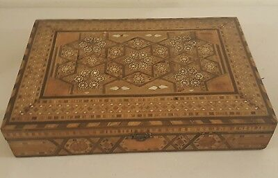 Antique Inlaid MOP Mother Of Pearl Mosaic Dresser Chest Trinket Jewelry Box