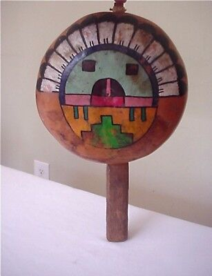 Vintage Native American Hopi Hand Painted Gourd Ceremonial Dance Rattle