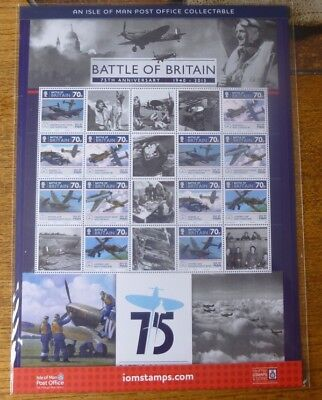 IoM  2015 75th Anniversary of the Battle of Britain, Commemorative Sheet MNH