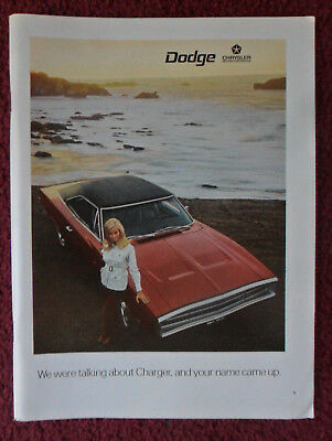 1970 Print Ad  Dodge Charger Muscle Car Automobile ~ Pretty Girl on Beach RED