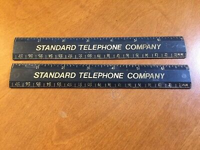"Standard Telephone Company   7"" Plastic Rulers  Qty 2 inches and millimeters"