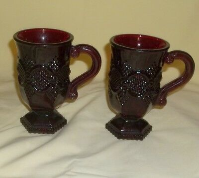 Vintage Set of 2 Avon 1876 Ruby Red Glass Cape Cod Footed Pedestal Coffee Mugs
