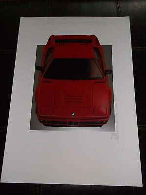 BMW 75th ANNIVERSARY DEALER POSTER - BMW M1 1978-81