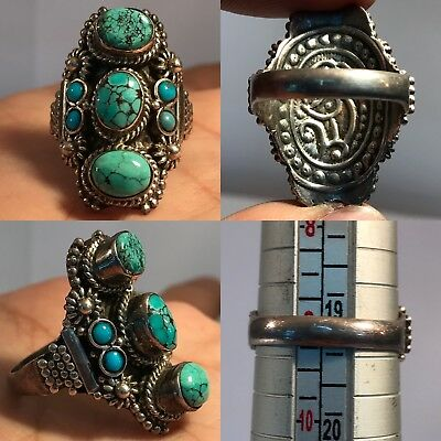 92.5 Silver lovely turquoise Stone rare wonderful silver Ring 11.5GR