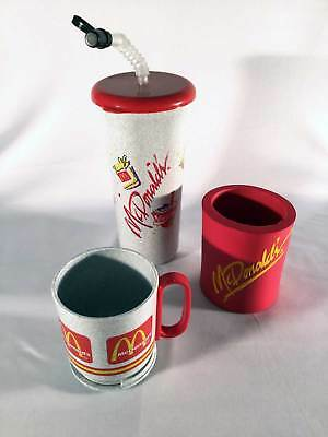 MCDONALDS 1990 Lot of 2 Cups 1 Can Cooler Gray Travel Tumbler Plastic Foam USA