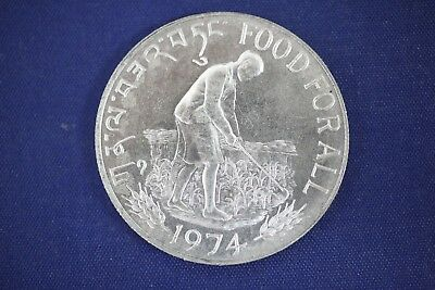 1974 BHUTAN 15 Ngultrums - .50 Fine Silver Coin - FAO Food For All