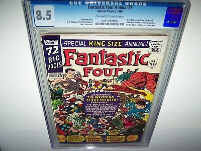 """FANTASTIC FOUR ANNUAL 3 CGC 8.5 """"The Wedding Of Sue And Reed"""" SUPER COVER! OMG!!"""