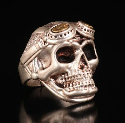 Tibetan Silver Hand Carved Skull Are Cool And Fashionable Statue Ring Men Gifts