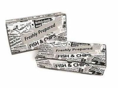 Take Away Shop Newspaper Fast Food Meal PRINTED FISH & CHIP BOX Large Tray x 50