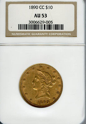 1890CC $10 Gold Liberty AU53 NGC