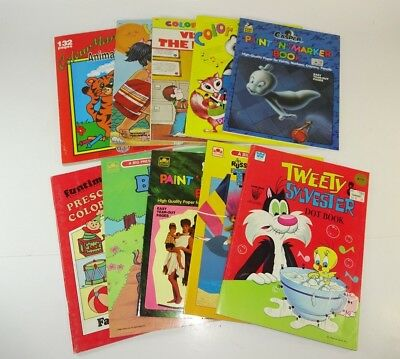 Vintage - Lot of 10 Kids Coloring Activity Books 1980s 1990s UNUSED - AUC#5