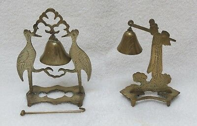 Antique Chinese brass bells in stands, one with two cranes and one with figure