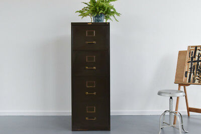 Vintage Green Four Drawer Metal Filing Cabinet by Vickers Armstrong